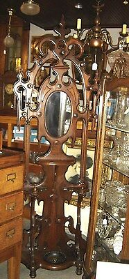 Antique Victorian Walnut Hall Tree with 7 wooden turned hooks.   7627