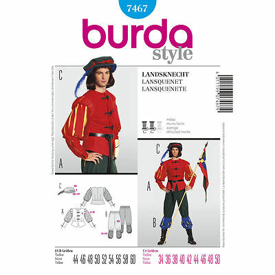 Burda 7467 SEWING PATTERN Renaissance Lansquenet Foot Soldier Men Costume 36-50