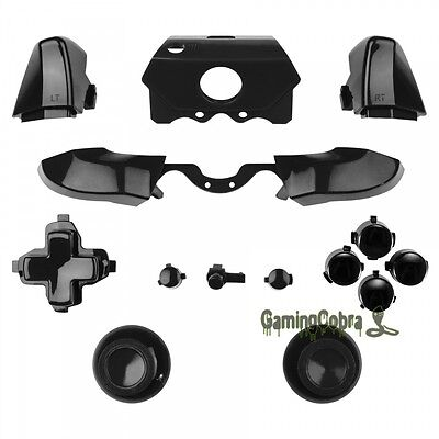 Solid Black Full Set repair Buttons for Xbox One Controller 3.5 mm Jack  Elite