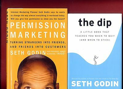 2 books by Business Guru Seth Godin: Permission Marketing & The Dip -Free Ship!