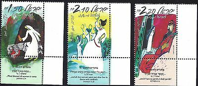 2007 Israel SET OF 3 festivals  Women in the Bible MNH w/tabs Jael Esther Miriam