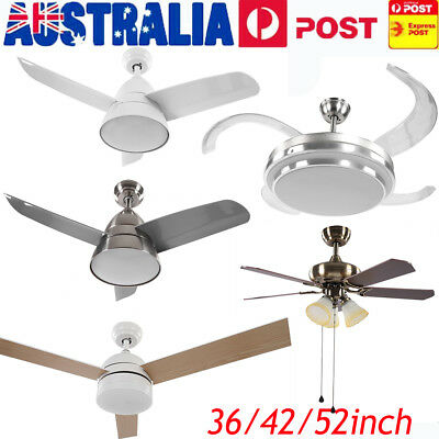 52inch 1300mm LED Ceiling Fan White Silver 4 Blade + Light and Remote Control