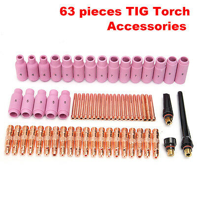 63Pcs TIG Consumables Nozzle Cups Collets Kit For Welding Torch WP-26 17 18 New