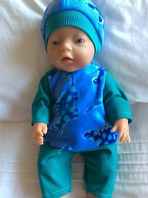 "Doll Clothes to fit 17"" Baby Born doll ~ 3 piece set ~ Teal~ Blue Dinosaurs"