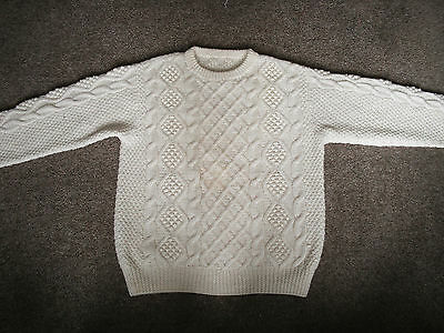 """VINTAGE CABLE KNIT JUMPER ARAN WOOL HAND KNITTED  - MEDIUM - Chest 38"""" - 40"""""""