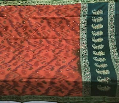 Antique Vintage Pure Silk Fabric Ikat Weaving Woven Zari Heavy Sari Saree Craft