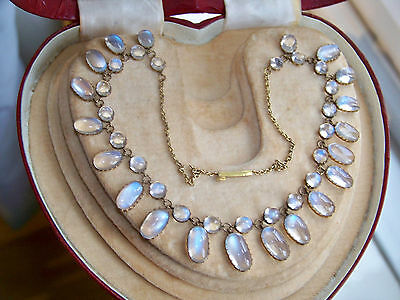 Antique Edwardian Solid Gold 51.80Ct Graduating Blue Moonstone Dropper Necklace