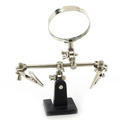 Helping Hand Magnifier Magnifying Glass Clamp Soldering Stand Crocod Iron Clips