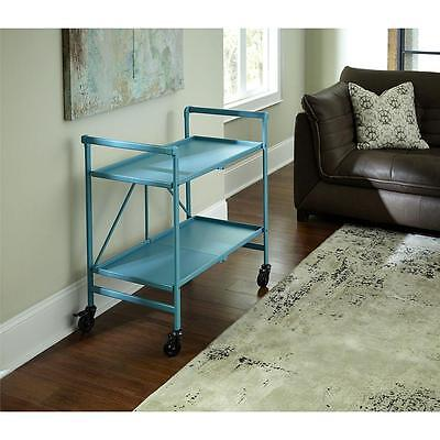 Rolling Bar Cart Folding Folds Flat Kitchen Patio Deck Serving Party TEAL Handy