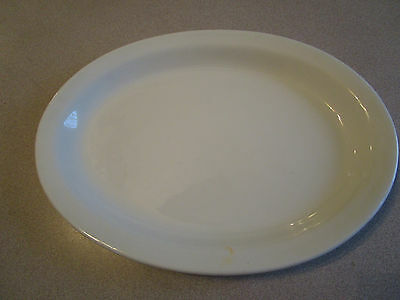 "Antique Early 1900's Semi Porcelain WHITE Ironstone Oval Platter 11.5"" UNMARKED"