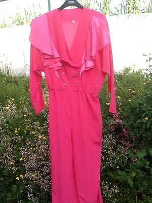 1970s/80s Vintage Glam Rock Pink Top/Tapered Leg Trousers Jumpsuit Size 16