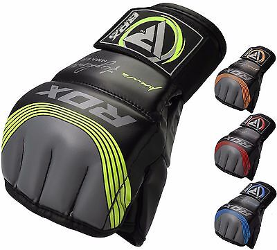 RDX MMA Grappling Handschuh Leder Boxen Gloves Thai Fight Kampfsport Handschuhe