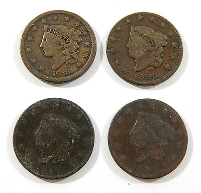 1818 1819 1825 1938 Large One Cent Coins ^ Braided Hair Coronet