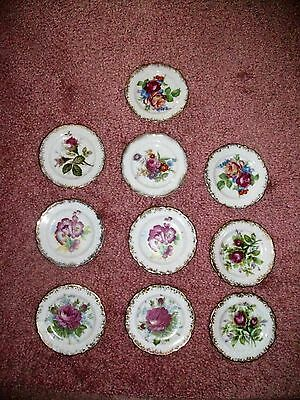 Set 10 vintage miniature plates roses FERN IMPORTATIONS Japan gold embellished