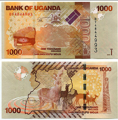 Uganda 1000 1,000 Shillings 2015 P New Deer Unc Lot 100 Pcs 1 Bundle