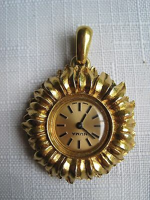 Vintage NUMA Swiss Made Gold Plated Ladies Watch Pendant Excellent Condition