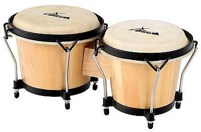 "Xdrum 6"" Und 7"" Latin Bongo Trommeln Percussion Instrument Natur Holz Drums Set"