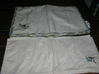 Set of 6 Laura Ashley Lifestyles Machine Embroidered Cloth Placemats and Napkins