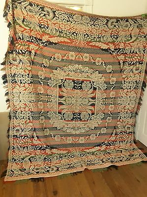 "Antique 80"" x 96"" Woven Wool Coverlet Red White Blue Green Birds Flowers"
