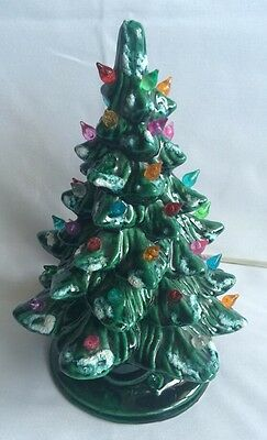 """10"""" Tall Lightly Flocked Snow Dusting Ceramic Christmas Tree With Lights"""