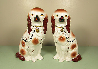 Staffordshire Style Dog Figurines - Brown White 10 inch Pair Mantle Fireplace