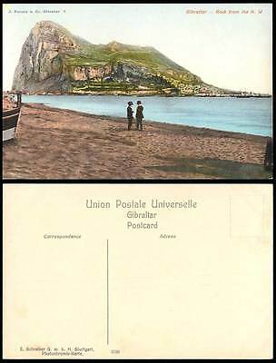 Gibraltar Old Colour Postcard Rock from The N.W. North West, Men, Boats Panorama