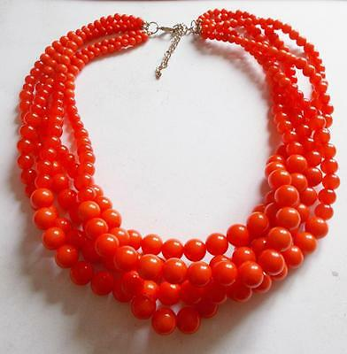 Vintage 1960's Coral Red Lucite Graduated Tiered Beads Statement Necklace