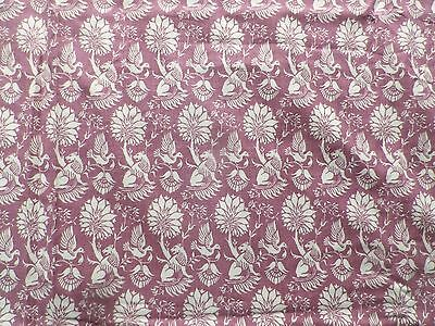 Vintage 1970's Laura Ashley Cotton Interiors Fabric Pink Bird & Lion Design