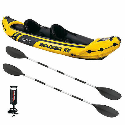 Intex K2 Explorer Kayak Two Man Inflatable Canoe Boat + Oars + Pump #68307