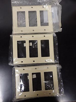 Lot of 3 Cooper Wiring 2163V 3 Gang Ivory Wall Plate Rocker Switch Cover (F6)