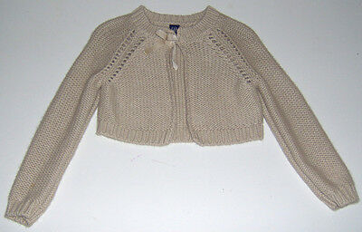 EUC Baby Gap girls tan cropped knit sweater cardigan 18-24m or 2T
