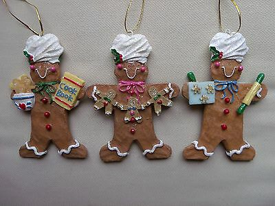 Vintage Set of (3) Gingerbread Man Boy Cookie Christmas Ornaments Bakers Chefs
