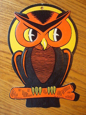 Luhrs Halloween Die Cut Owl Decoration Vintage