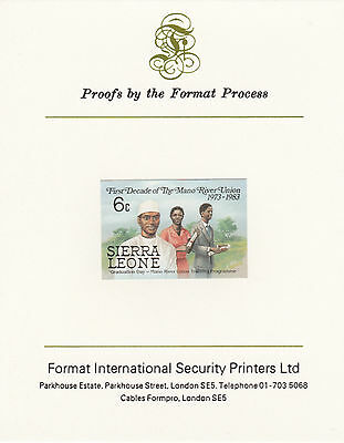 Sierra Leone 4355 - 1984 MANO RIVER 6c IMPERF on FORMAT INTERNATIONAL PROOF CARD
