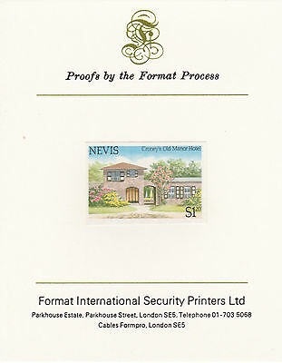 Nevis 4358 - 1985 TOURISM $1.20 IMPERF on FORMAT INTERNATIONAL PROOF CARD