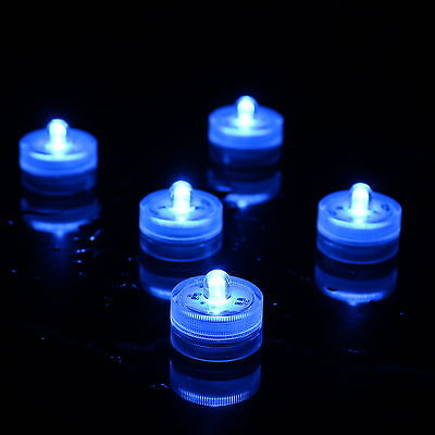 10 Blue Underwater Submersible LED Tea Lights by PK Green