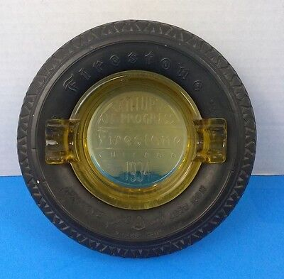 Rare Century of Progress Firestone Rubber Tire Ashtray Chicago 1934 Yellow Glass