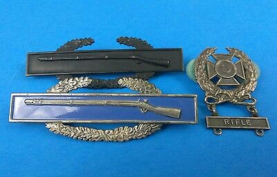 Estate Found Lot of 3 Vintage Military Rifle Award Pins Sterling Blue Enamel