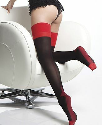 Coquette Opaque Cuban Heel Seamed Stockings - Black With Red Seam - One Size