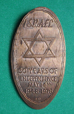 Israel elongated penny USA cent 1948 1978 souvenir coin 30 Years Of Independence