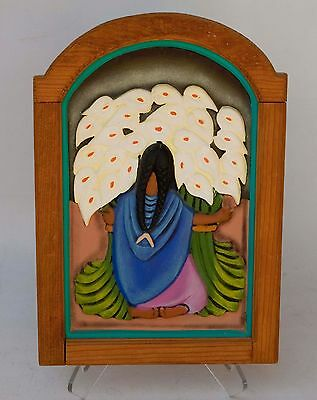 "VINTAGE Porcelain Hand Painted Picture Wall Plaque Wood Frame ""LILY GATHERER"""