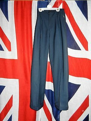 "VINTAGE 40s 50s STYLE HIGH WAISTED TROUSERS PLEAT FRONT TURN UPS W26"" 26.5"" IL"