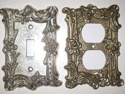 Lot of 2 Vintage Art Nouveau Style Brass Tone Wall Switch Plate &Double Outlets