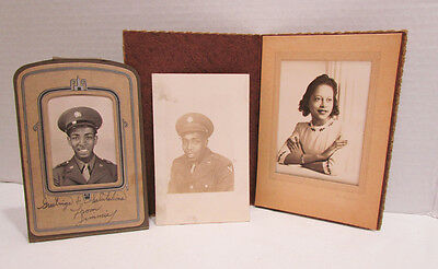 Wwii Era Photo Lot African American Soldier & His Sweetheart 3 Photos Rppc Nice!