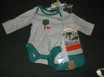 M&S Pack of 5 100%Cotton L/Sleeved Bodysuits NEWBORN 50cm Grey Mix BNWT