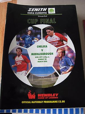 1990 Zenith Data systems ZDS Cup Final Chelsea v Middlesbrough 25.3.1990