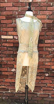 Authentic Rare Antique Vintage 1920s celery green silk embroidered beaded dress