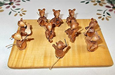 Vtg Erzgebirge Miniatures: The Mouse Band w/ Conductor & Wooden Base Germany