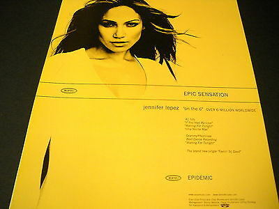 JENNIFER LOPEZ is an Epic Sensation 2000 PROMO POSTER AD mint condition