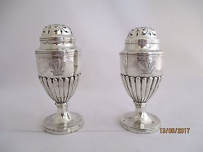 Victorian Pair Large Heavy 127 Grams Fluted Vase Shaped Peppers HM London 1895